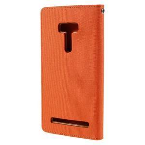 Canvas PU kožené/textilní pouzdro na Asus Zenfone Selfie ZD551KL - oranžové - 2