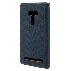 Canvas PU kožené/textilní pouzdro na Asus Zenfone Selfie ZD551KL - tmavěmodré - 2