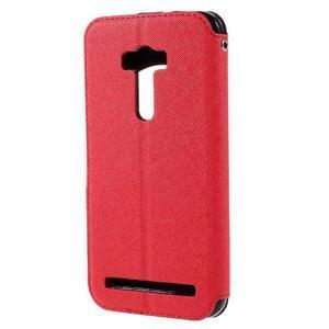 Peněženkové pouzdro s okýnkem na Asus Zenfone Selfie ZD551KL - červené - 2