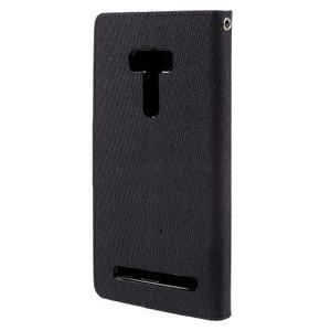 Canvas PU kožené/textilní pouzdro na Asus Zenfone Selfie ZD551KL - černé - 2