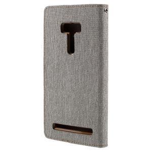 Canvas PU kožené/textilní pouzdro na Asus Zenfone Selfie ZD551KL - šedé - 2