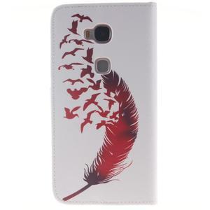 Peněženkové pouzdro pro mobil Honor 5X - ptačí peříčko - 2