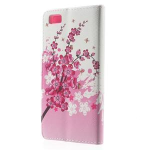 Peněženkové PU kožené pouzdro na Huawei Ascend P8 Lite - kvetoucí větvička - 2