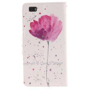 Leathy PU kožené pouzdro na Huawei P8 Lite - makový květ - 2