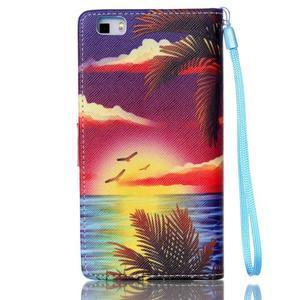 Picture PU kožené pouzdro na Huawei P8 Lite - plážová scenérie - 2