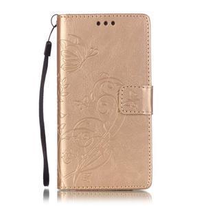 Magicfly PU kožené pouzdro na Huawei P8 Lite - zlaté - 2