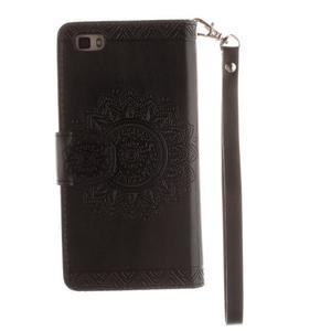 Mandala PU kožené pouzdro na mobil Huawei P8 Lite - černé - 2