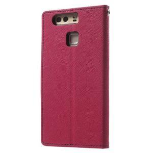 Diary PU kožené pouzdro na mobil Huawei P9 - rose - 2