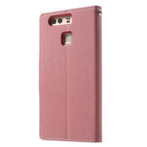 Diary PU kožené pouzdro na mobil Huawei P9 - růžové - 2