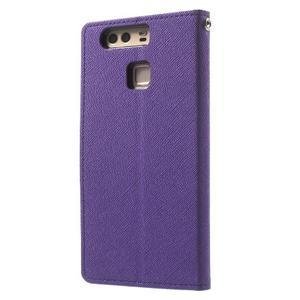 Diary PU kožené pouzdro na mobil Huawei P9 - fialové - 2