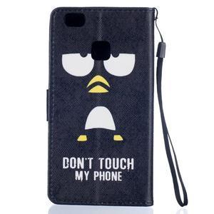 Peněženkové PU kožené pouzdro na Huawei P9 Lite - nešahej na můj telefon - 2