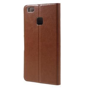 Horse PU kožené pouzdro na mobil Huawei P9 Lite - hnědé - 2