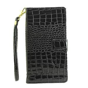 Croco peněženkové pouzdro na mobil Huawei P9 Lite - černé - 2