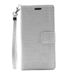 Croco peněženkové pouzdro na mobil Huawei P9 Lite - bílé - 2