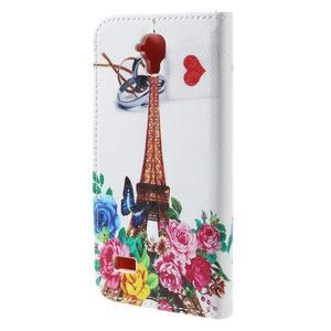 Emotive PU kožené pouzdro na Huawei Y5 - květiny a Eiffelova věž - 2
