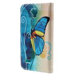 Emotive PU kožené pouzdro na Huawei Y5 - modrý motýl - 2