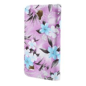 Květinové pouzdro na Huawei Y5 a Y560 - fialové pozadí - 2