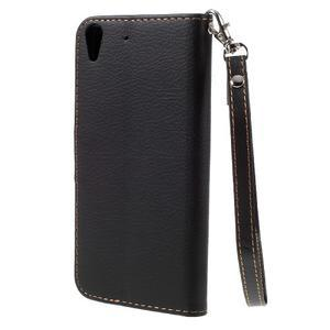 Leaf PU kožené pouzdro na mobil Huawei Y6 - černé - 2