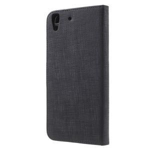 Clothy PU kožené pouzdro na Huawei Y6 - černé - 2