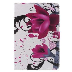 Stylové pouzdro na iPad mini 4 - fialový květ - 2