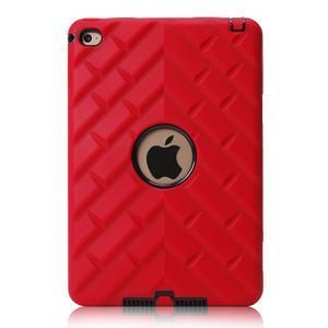 Vysoce odolný silikonový obal na tablet iPad mini 4 - černý/červený - 2