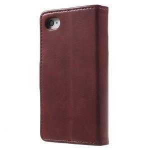 Moon PU kožené pouzdro na mobil iPhone 4 - vínové - 2