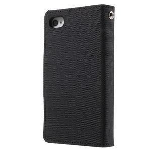 Canvas PU kožené/textilní pouzdro na iPhone 4 - černé - 2