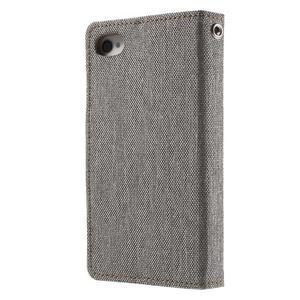 Canvas PU kožené/textilní pouzdro na iPhone 4 - šedé - 2