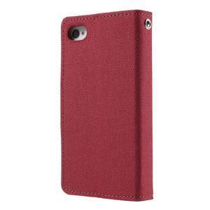 Canvas PU kožené/textilní pouzdro na iPhone 4 - červené - 2