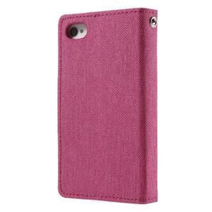 Canvas PU kožené/textilní pouzdro na iPhone 4 - rose - 2