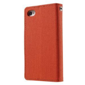 Canvas PU kožené/textilní pouzdro na iPhone 4 - oranžové - 2