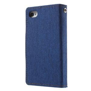 Canvas PU kožené/textilní pouzdro na iPhone 4 - modré - 2