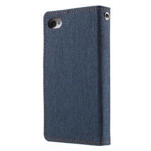 Canvas PU kožené/textilní pouzdro na iPhone 4 - tmavěmodré - 2