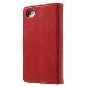Moon PU kožené pouzdro na mobil iPhone 4 - červené - 2