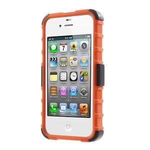 Outdoor odolný obal na mobil iPhone 4 - oranžový - 2
