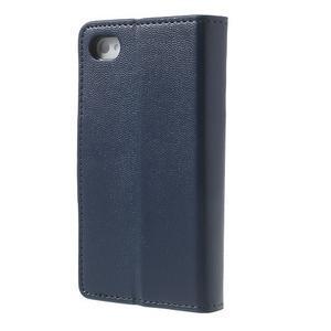 Diary PU kožené knížkové pouzdro na iPhone 4 - tmavěmodré - 2