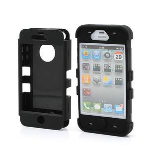 Silikonový odolný obal 3v1 na iPhone 4 - černý - 2