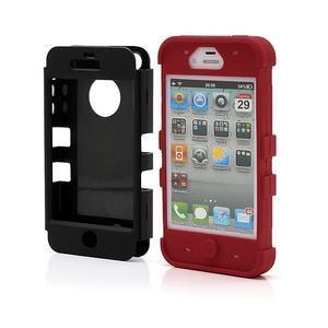Extreme odolný kryt 3v1 na mobil iPhone 4 - červený - 2