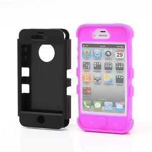 Extreme odolný kryt 3v1 na mobil iPhone 4 - fialovorůžový - 2