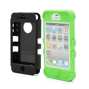 Extreme odolný kryt 3v1 na mobil iPhone 4 - zelený - 2