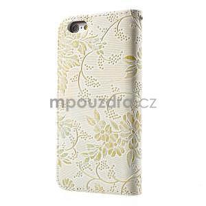 Elegantní květinové peněženkové pouzdro na iPhone 6 a 6s - bílé - 2