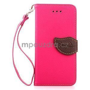 PU kožené peněženkové pouzdro pro iPhone 6s a 6 - rose - 2