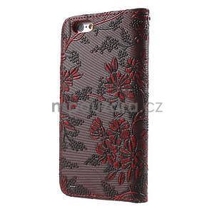 Elegantní květinové peněženkové pouzdro na iPhone 6 a 6s - červenohnědé - 2