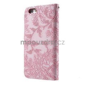 Elegantní květinové peněženkové pouzdro na iPhone 6 a 6s - růžové - 2