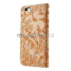 Elegantní květinové peněženkové pouzdro na iPhone 6 a 6s - oranžové - 2