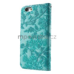 Elegantní květinové peněženkové  pouzdro na iPhone 6 a 6s - tyrkysové - 2