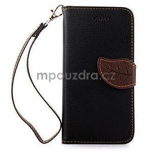 PU kožené peněženkové pouzdro pro iPhone 6s a 6 - černé - 2