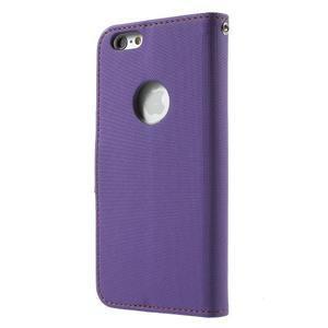 Peněženkové koženkové pouzdro na iPhone 6s a 6 - fialové - 2