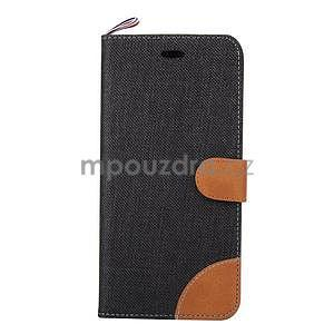 Látkové/koženkové peněženkové pouzdro na iphone 6s a 6 - černé - 2