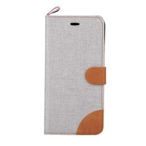 Látkové/koženkové peněženkové pouzdro na iphone 6s a 6 - šedé - 2